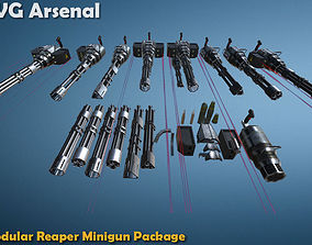3D model Modular Reaper Minigun Package - HQ