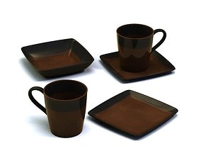 Brown Teacup Set 3D