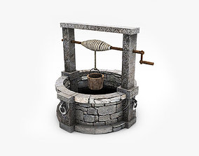 low-poly Old stone well model