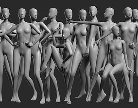 Animated Female Mesh - 14 poses v2 3D asset