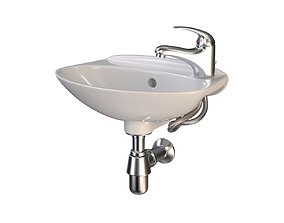 Compact Bathroom Sink with Faucet 3D model