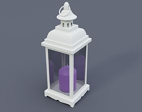 3D model White home lantern with lavender candle