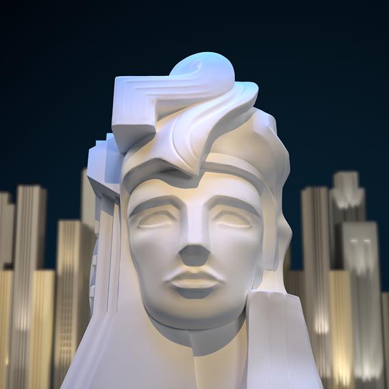 Art Deco style bust sculpture Pacifica 3D