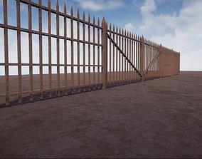 Modular Rusty Railing 3D model game-ready