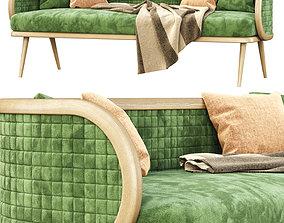 3D model Victoria velour three-seater restaurant sofa DC18