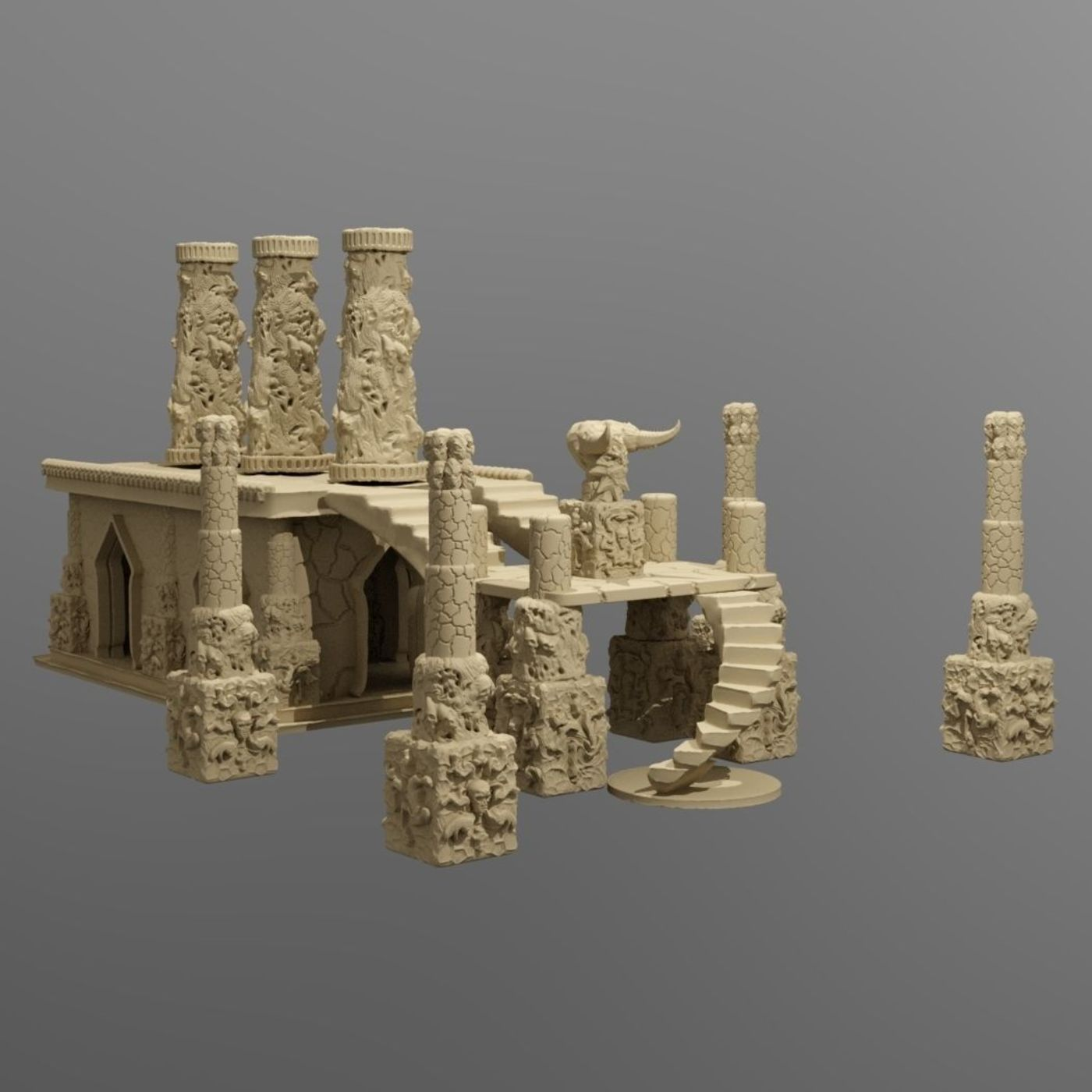 image relating to Printable Scenery identified as Temple of the Demon King Printable Landscapes CGTrader