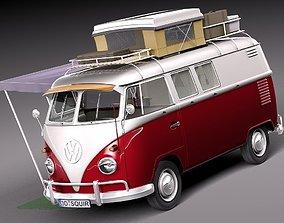 3D model Volkswagen Camper Van 1950 Open