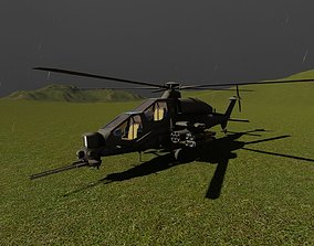 helicopter 3D model animated