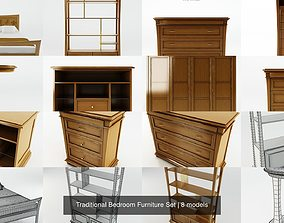 Traditional Bedroom Furniture Set 3D wardrobe