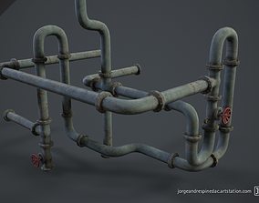 3D asset game-ready Pipes Pack - Modular Set - Game Ready