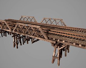 Wooden railway bridge 3D asset