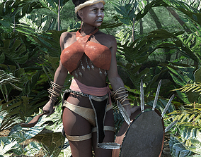3D asset Shaman West Africa rigged lowpoly