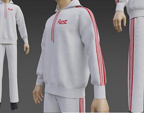 Male Tracksuit - Sweatpants and Sweatshirt Hoodie 3D model