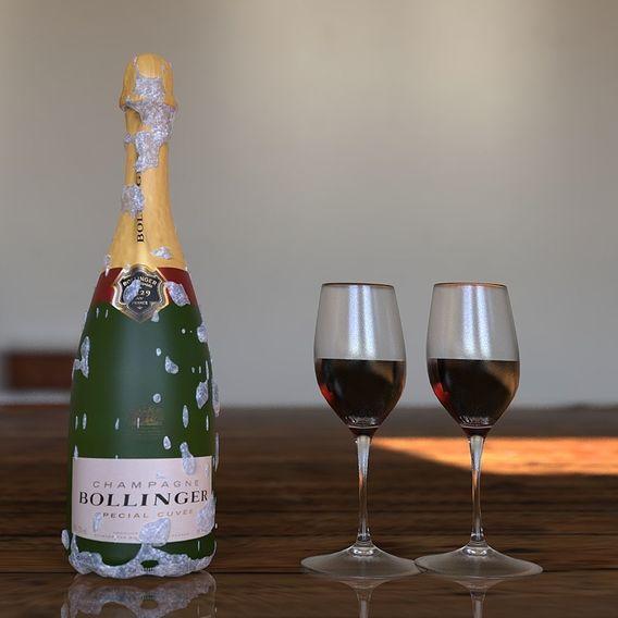 Frozen Bollinger wine CGI  bottle