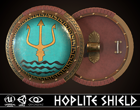 3D model game-ready Hoplite Shield Trident
