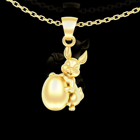 Easter Bunny Pendant jewelry Gold 3D print model