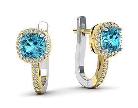 Cushion Gems 6x6 earring 3D print model