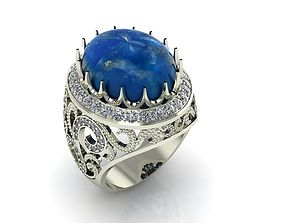 Big sapphire cabochon gemstone men ring 3D print model