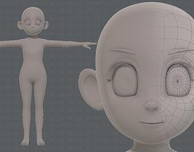 3D model realtime Base mesh girl characterV12