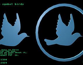 3D model Low poly symbol birds