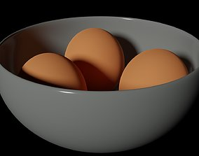 Eggs and bowl 3D asset