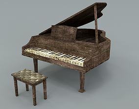 3D asset Old piano abandoned