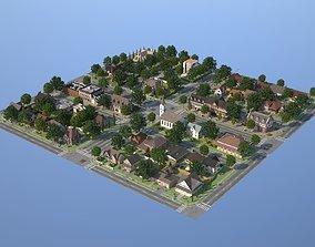 City Town KC10 3D asset VR / AR ready