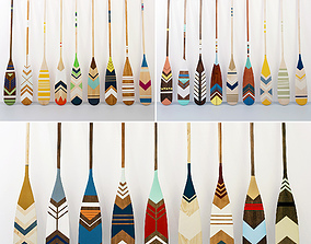 Collection of canoe paddles 27 pieces 3D