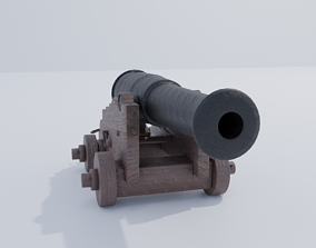 Ship Cannon 3D asset game-ready
