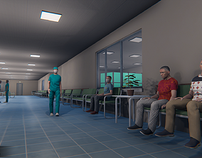 3D asset Hospital - modular building props and characters