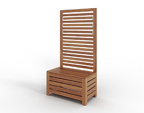 APPLARO Bench with wall panel outdoor brown 3D model 1