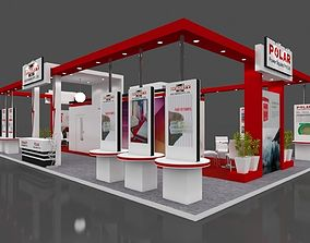 Exhibition stall 3d model 15x9 mtr 4sides open Battery