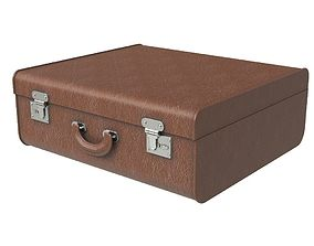 3D model Brown travel suitcase
