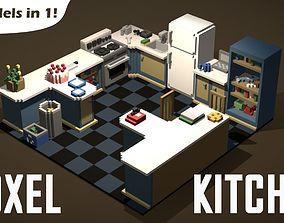 3D asset Modular Voxel Kitchen Set