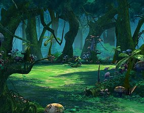 Cartoon Forest Scene 01 3D