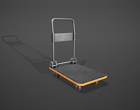 3D asset Folding Platform Truck - Trolley - Orange Accents