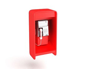 Street Red Phonebooth 3D model