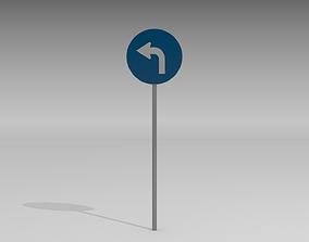 3D model Turn left sign