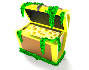 VR / AR ready Voxel - Mossy Chest - Low-poly 3D Model