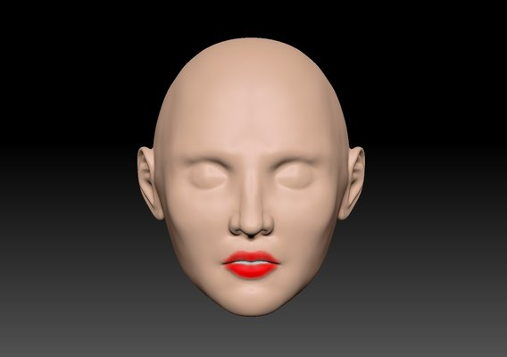 Doll head 1/6 Scale for 3D Printing