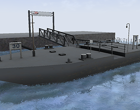River cruise and ferry floating dock 3d model 01 low-poly