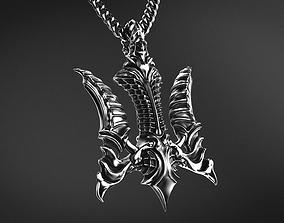 Falcon Biomechanical Trident Pendant 3D print model