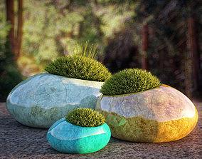 3D model moss rocks