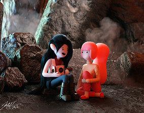 3D Princess Bubblegum and Marceline Obsidian CGI Scene