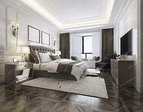3D model luxury classic modern bedroom suite in