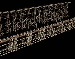 Two models 3D Wood trestle bridge and rail VR / AR ready