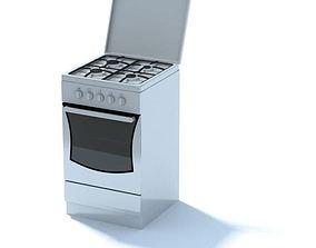 3D White Kitchen Stove