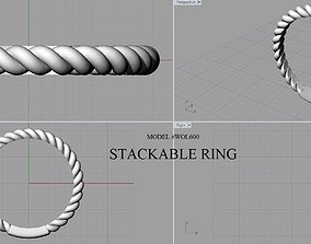 STACKABLE ROPE RING 3D printable model