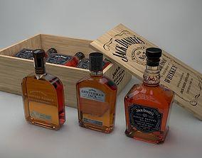 3 Jack Daniels Bottles 3D model