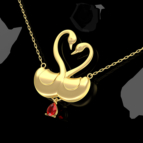 Swans Love Pendant Jewelry Gold 3D print model